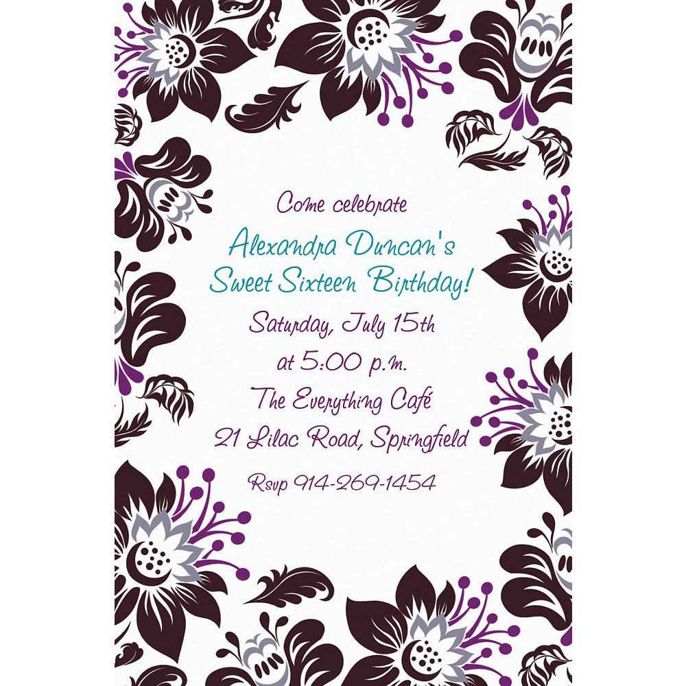 Custom Damask Blossoms Invitations Image #1