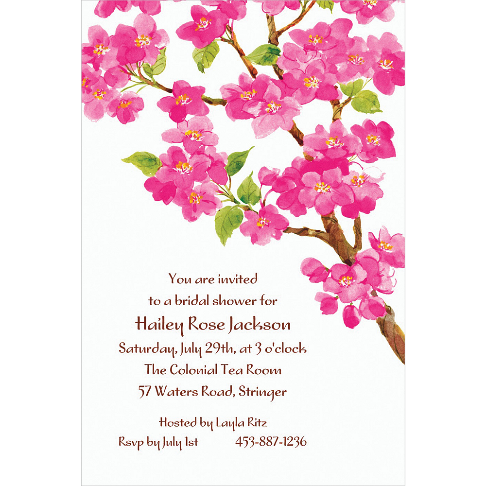 Nav Item for Custom Sweet Cherry Blossoms Invitations Image #1