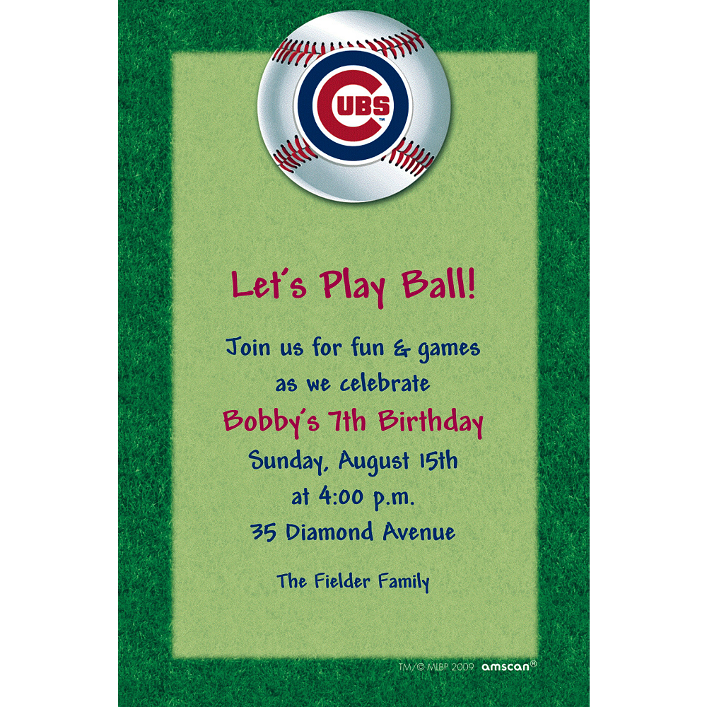 Custom Chicago Cubs Invitations Image #1