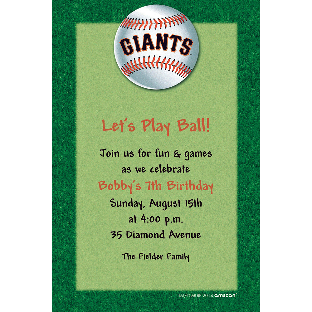 Custom San Francisco Giants Invitations  Image #1