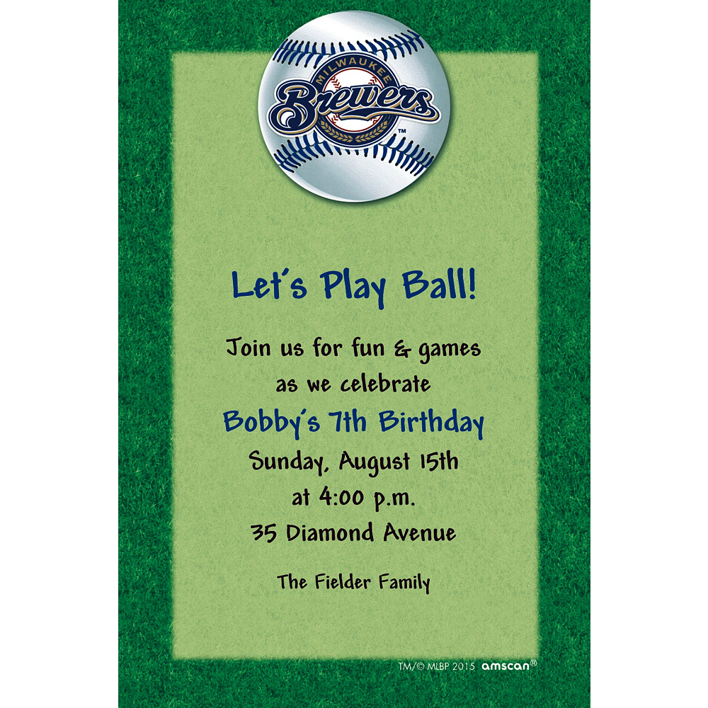 Custom Milwaukee Brewers Invitations Image #1