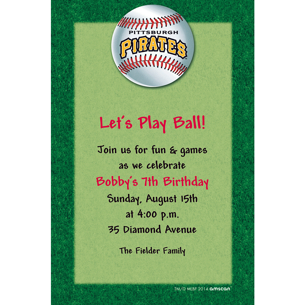 Custom Pittsburgh Pirates Invitations Image #1
