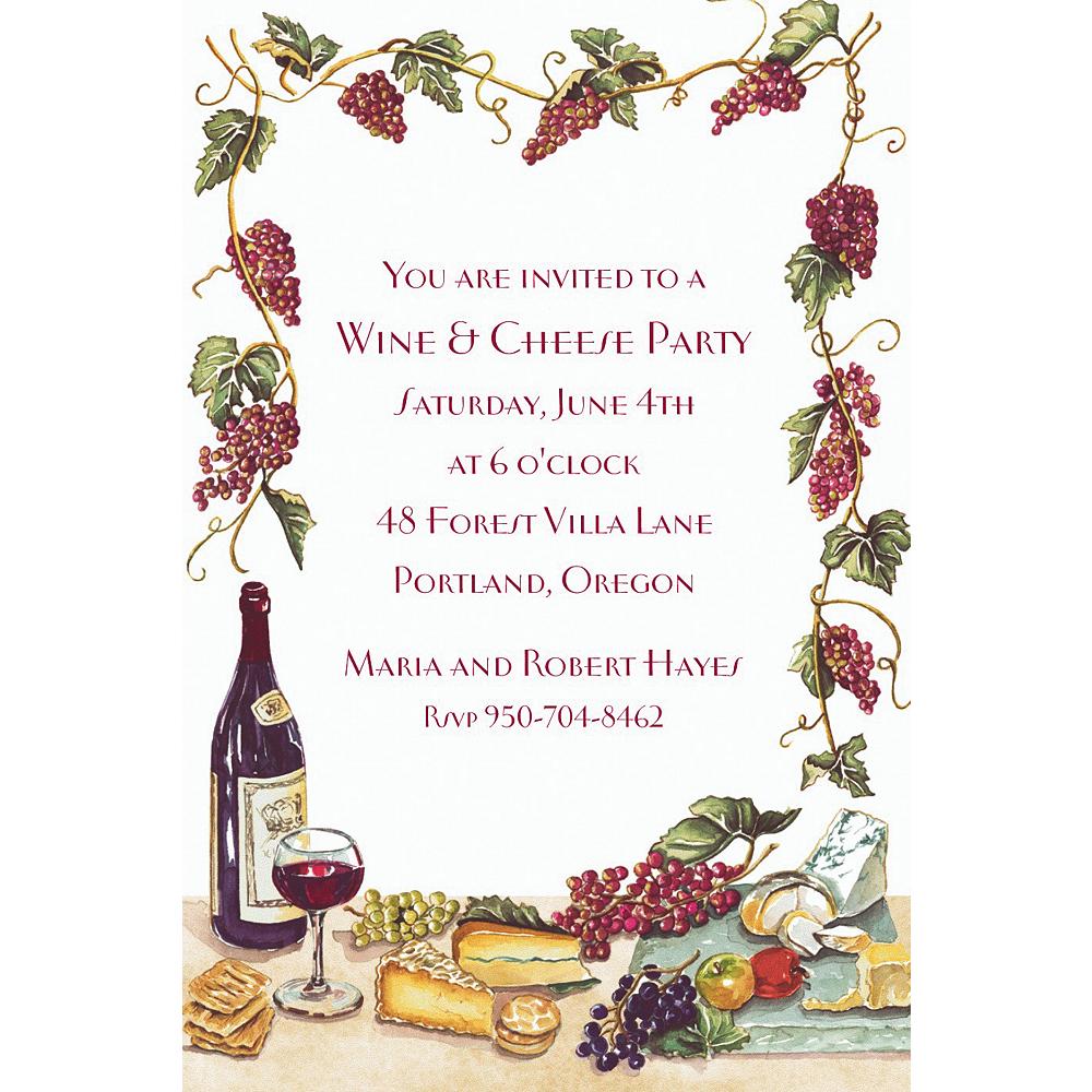 Wine Cheese Grape Vines Invitations