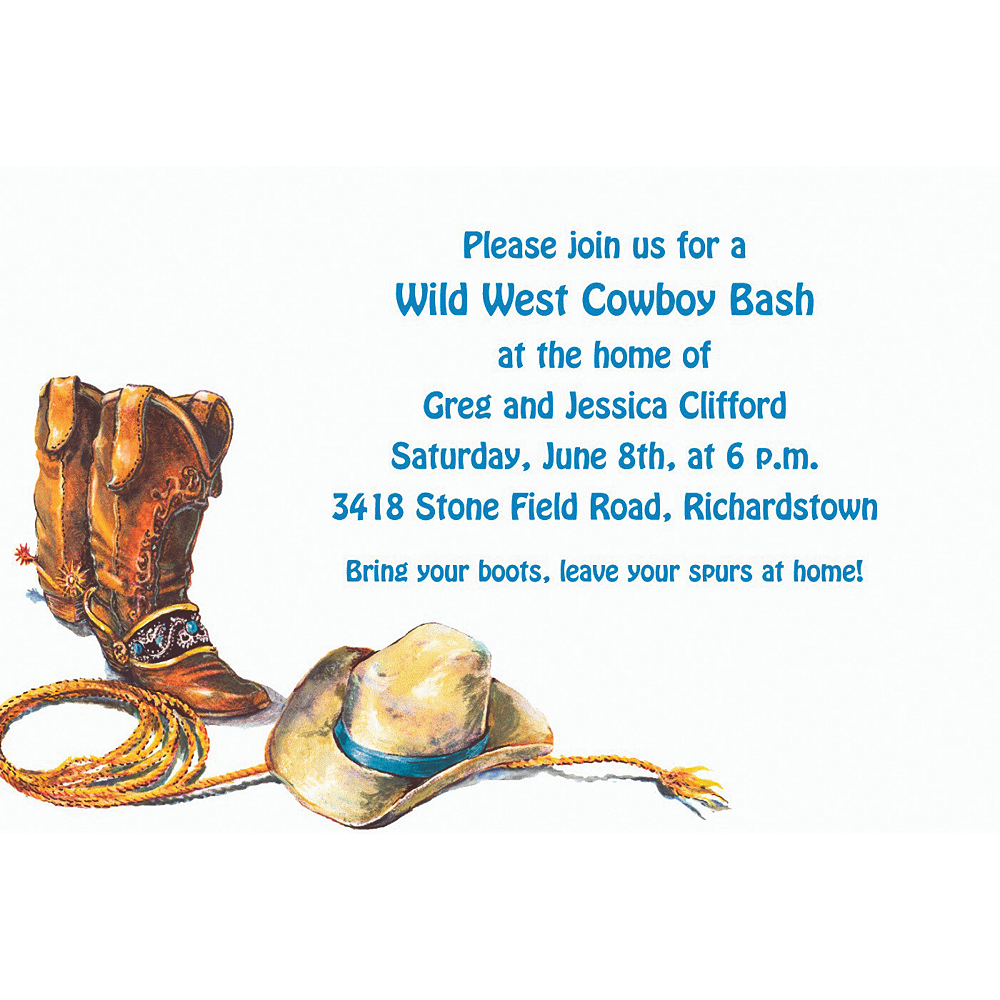 Custom Cowboy Boots, Hat & Lasso Western Invitations Image #1