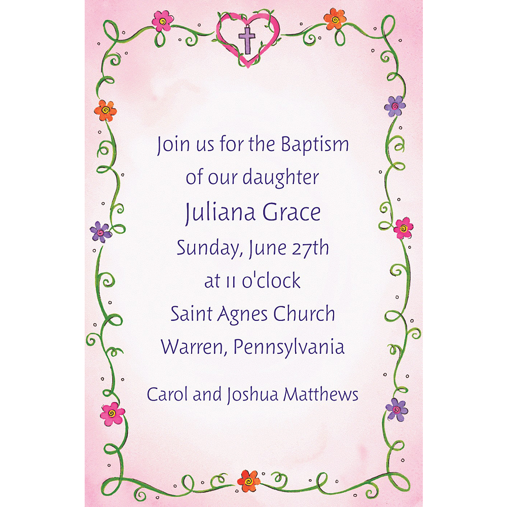 Custom Sweet Flowers, Heart & Cross Invitations Image #1