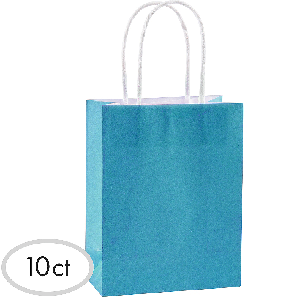 Medium Caribbean Blue Kraft Bags 10ct Image #1