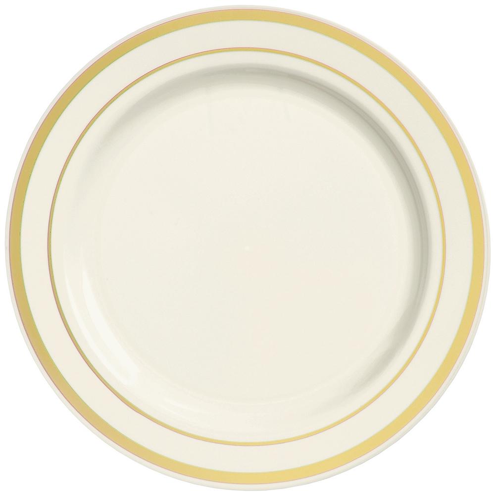 Cream Gold-Trimmed Premium Plastic Dinner Plates 10ct Image #1