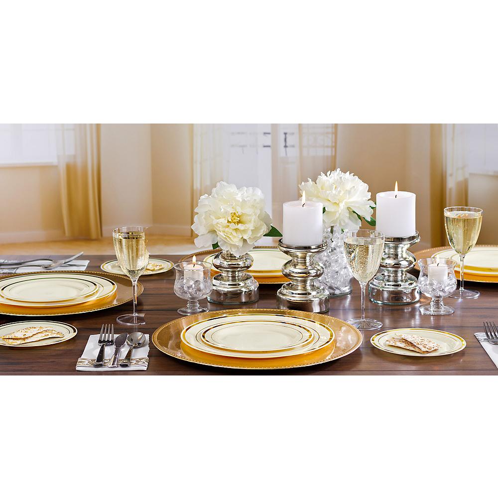 Cream Gold-Trimmed Premium Plastic Dinner Plates 10ct Image #2