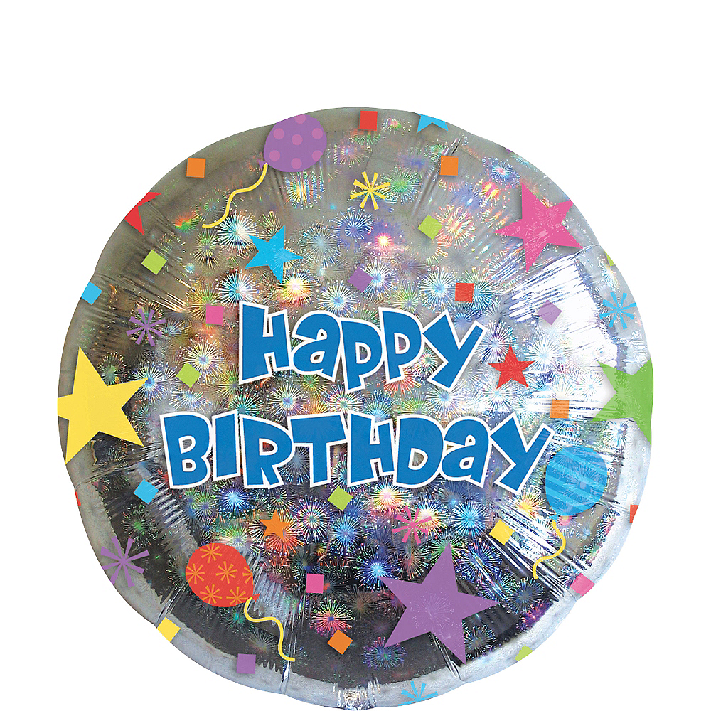 Happy Birthday Balloon - Prismatic Starburst, 17in Image #1