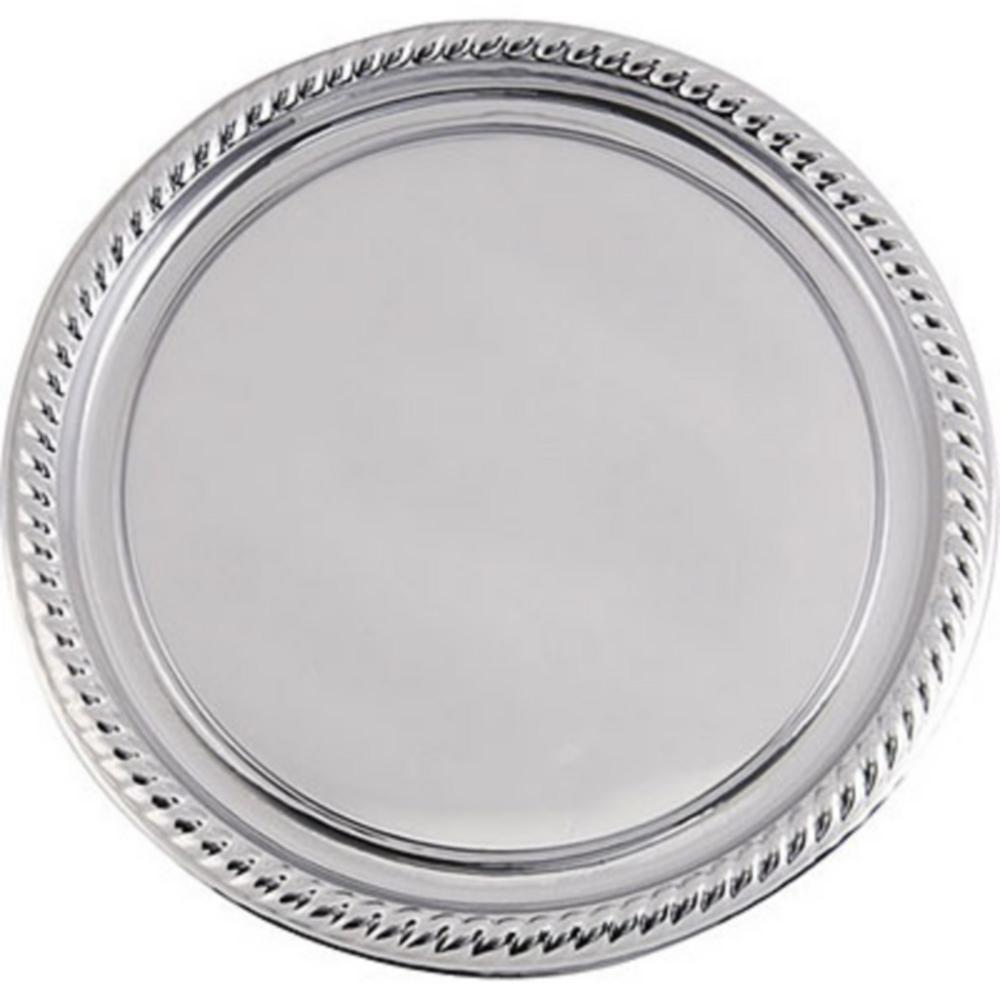 Silver Plastic Braided Edge Platter Image #1