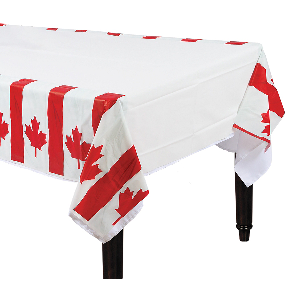 Waving Canadian Flag Table Cover 54in x 96in Image #1