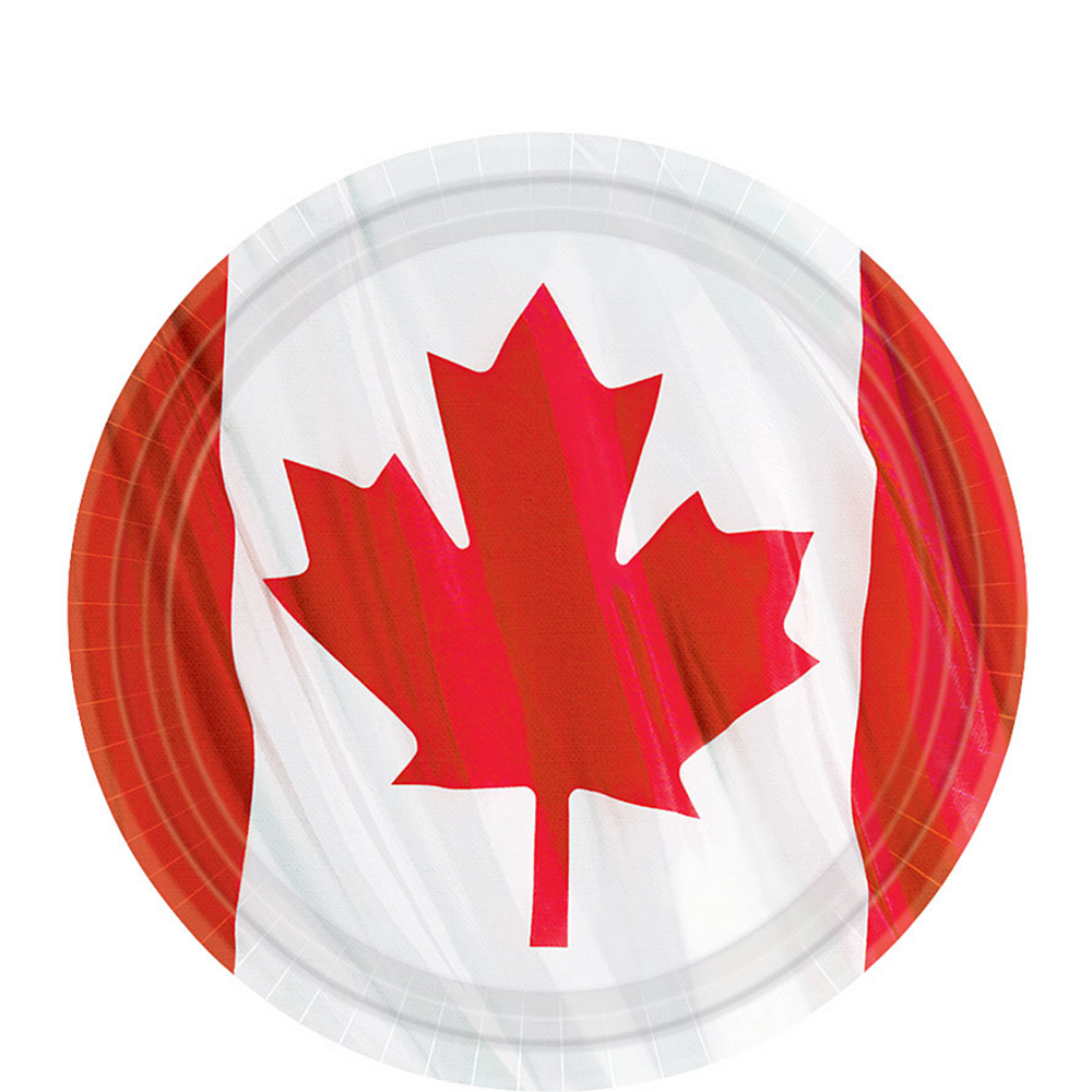 Waving Canadian Flag Dessert Plates 12ct Image #1