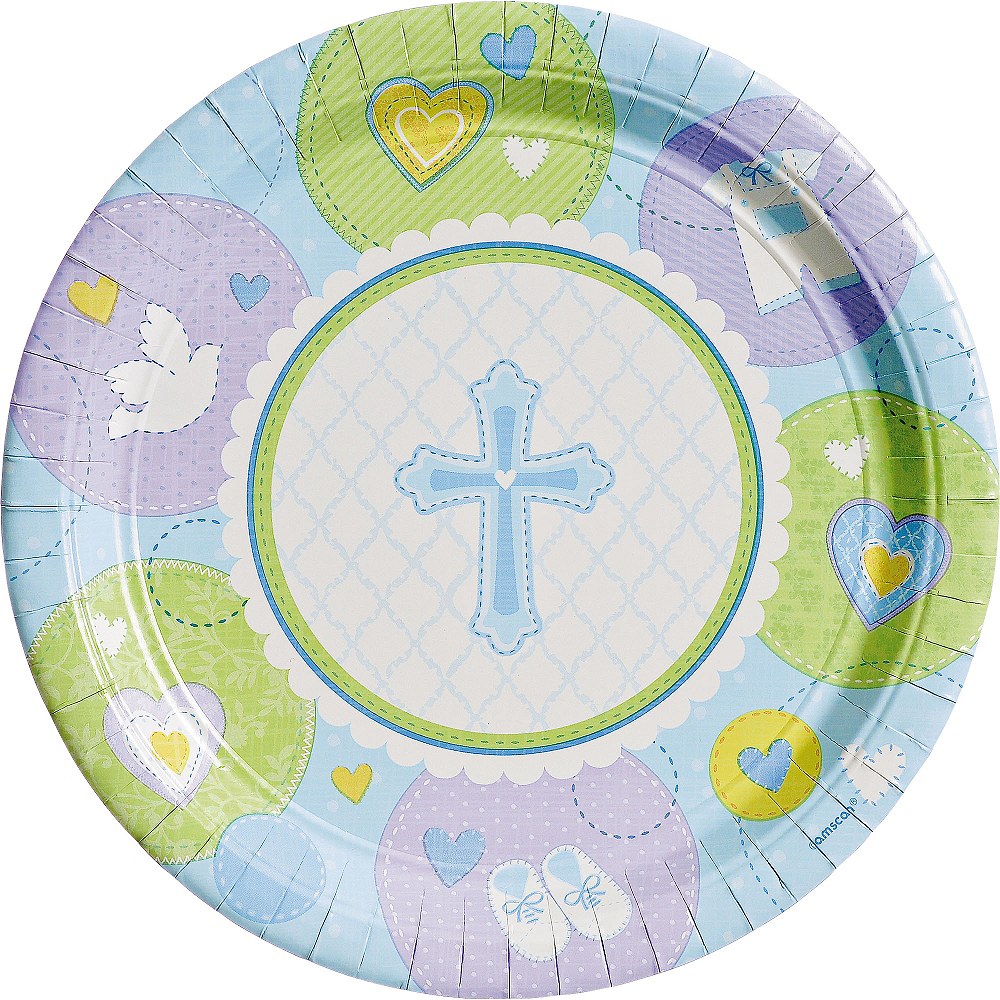 Blue Sweet Religious Dinner Plates 8ct Image #1