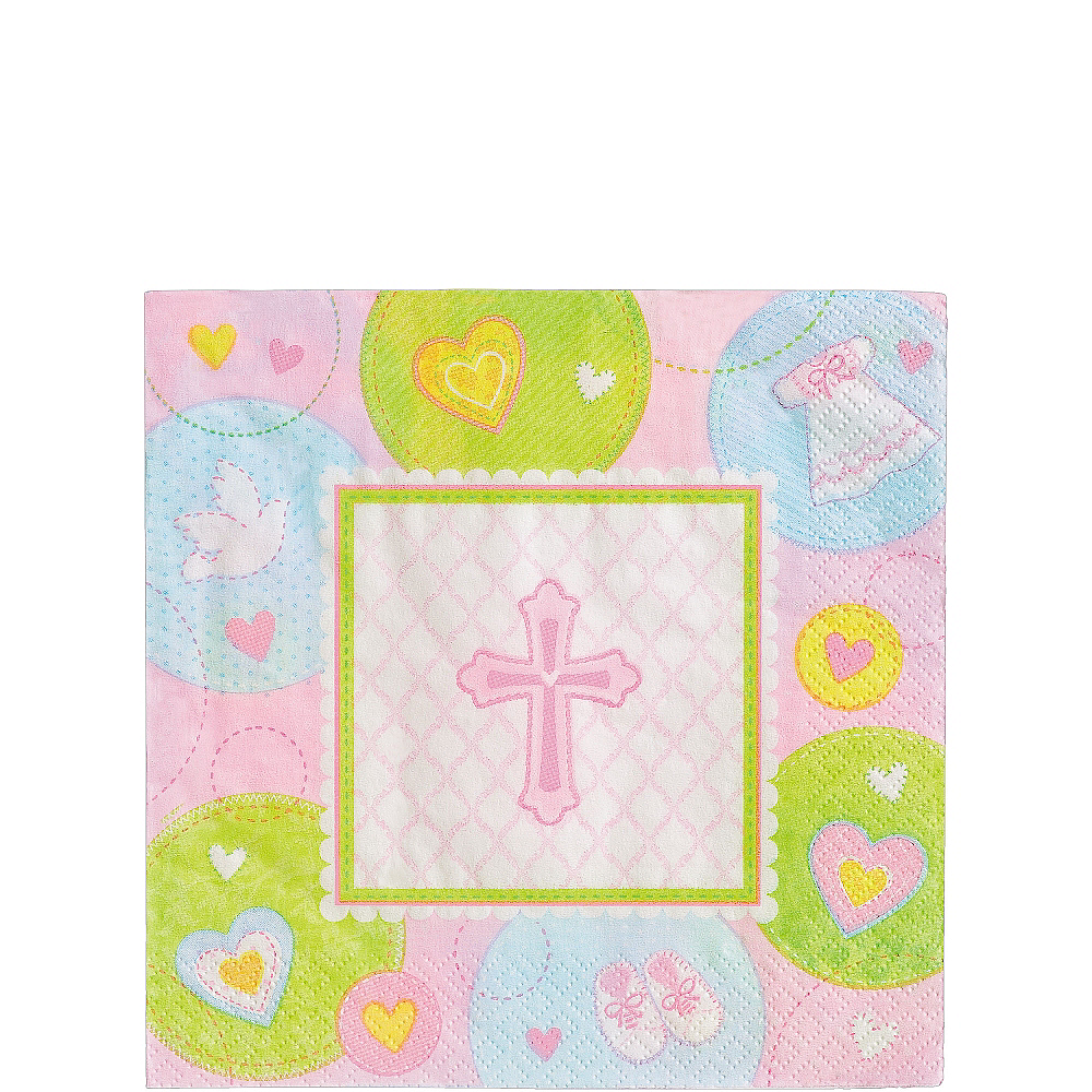 Pink Sweet Religious Beverage Napkins 16ct Image #1