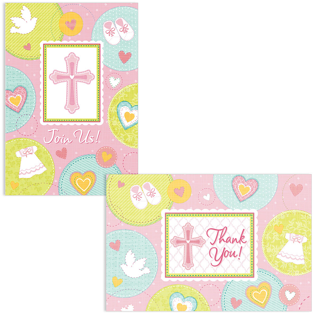 Pink Sweet Religious Invitations & Thank You Notes for 8 Image #1