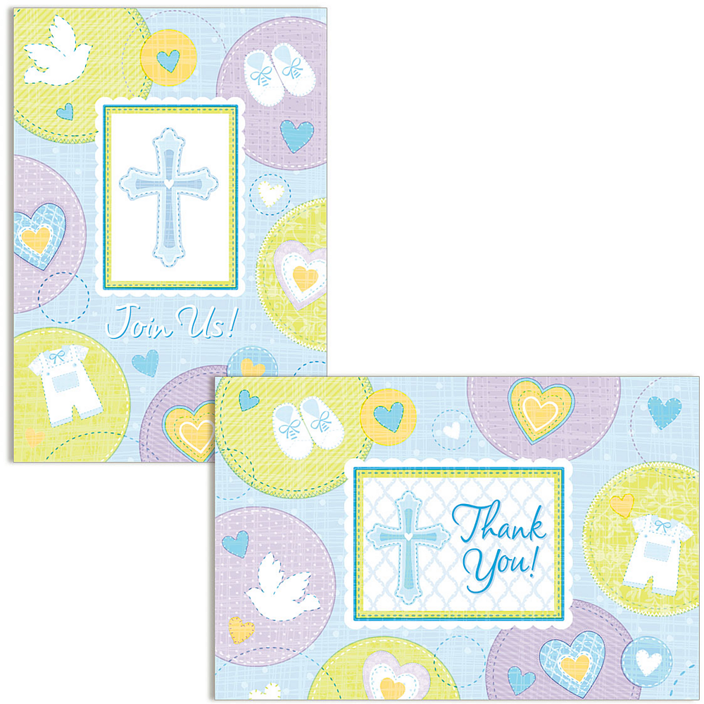 blue sweet religious invitations thank you notes for 8 party city