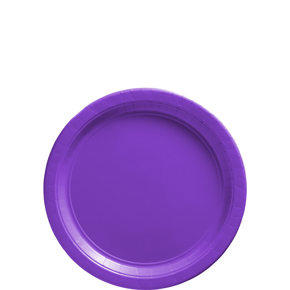 Nav Item for Big Party Pack Purple Paper Dessert Plates 50ct Image #1