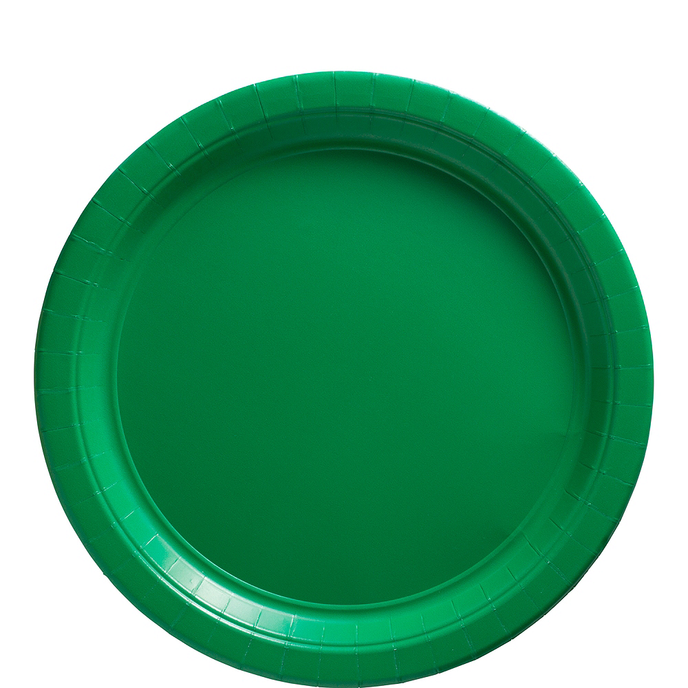 Big Party Pack Festive Green Paper Lunch Plates 50ct Image #1