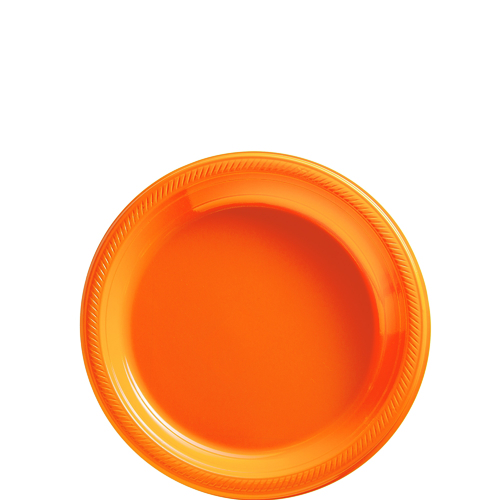 Nav Item for Big Party Pack Orange Plastic Dessert Plates 50ct Image #1