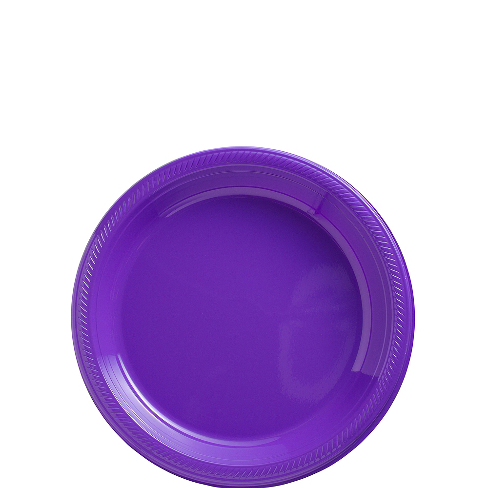 Big Party Pack Purple Plastic Dessert Plates 50ct Image #1