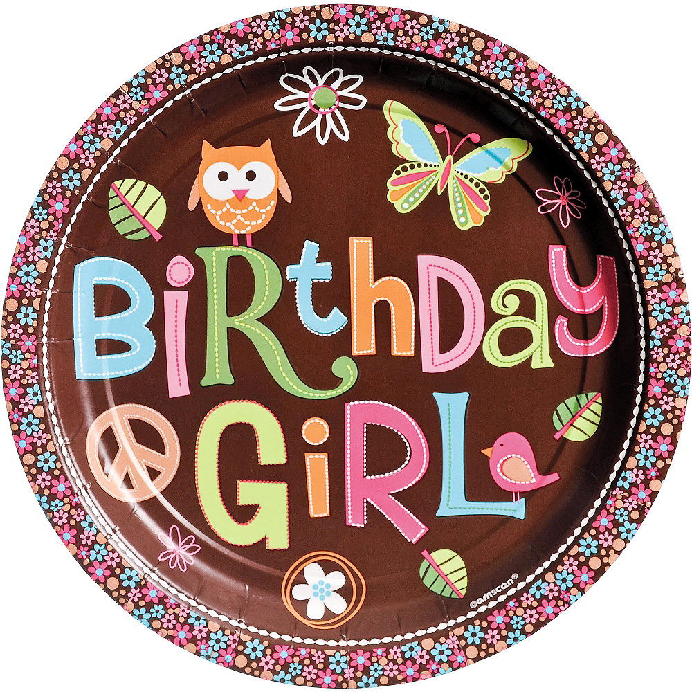Hippie Chick Birthday Lunch Plates 8ct Image #1