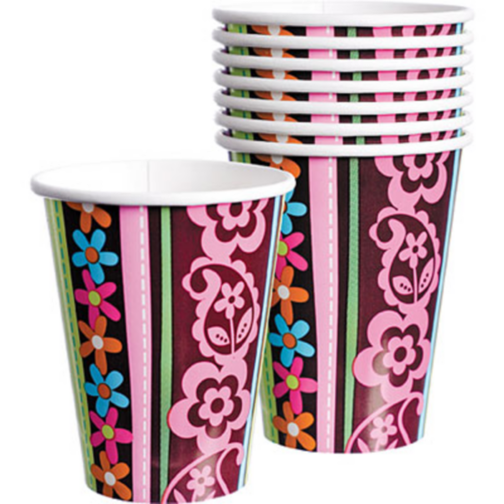 Hippie Chick Birthday Cups 8ct Image #1