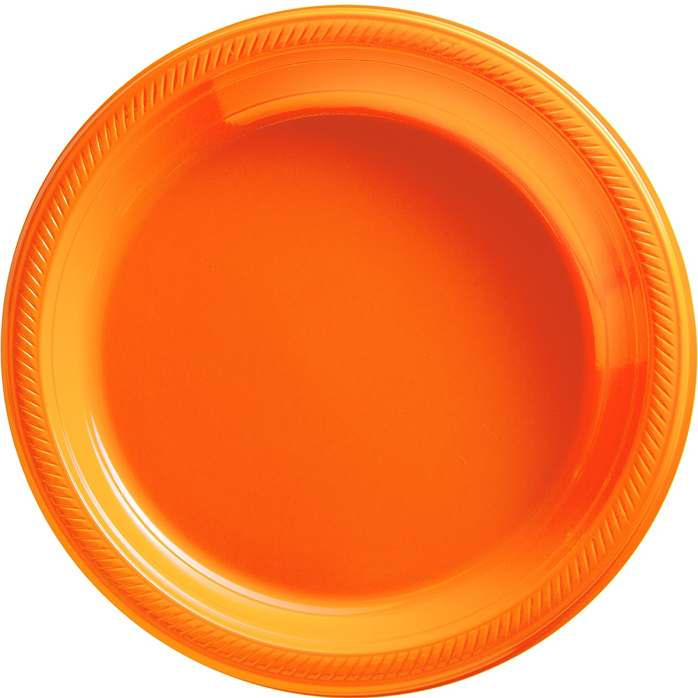 Big Party Pack Orange Plastic Dinner Plates 50ct Image #1