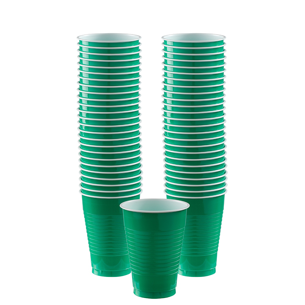 Nav Item for Festive Green Plastic Cups, 12oz, 50ct Image #1