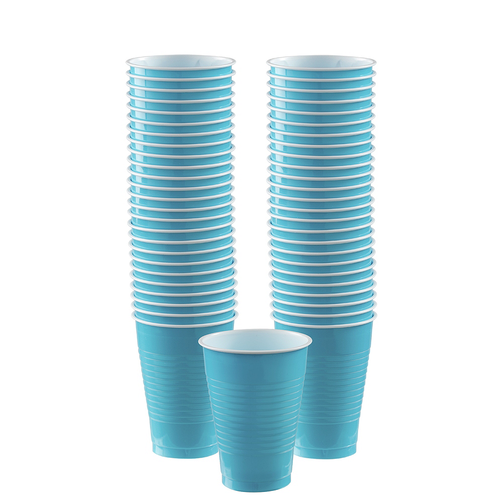 Big Party Pack Caribbean Blue Plastic Cups 50ct Image #1