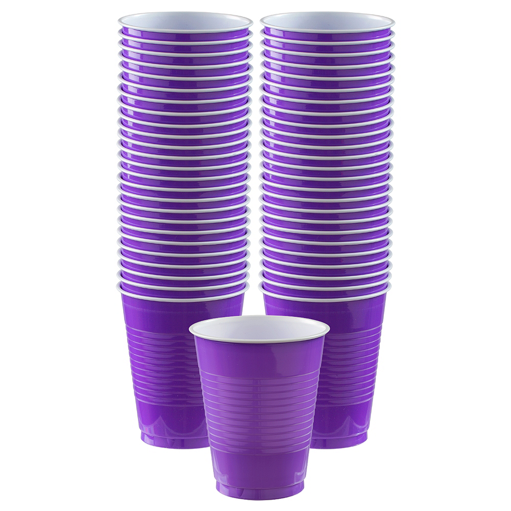 Big Party Pack Purple Plastic Cups 50ct Image #1