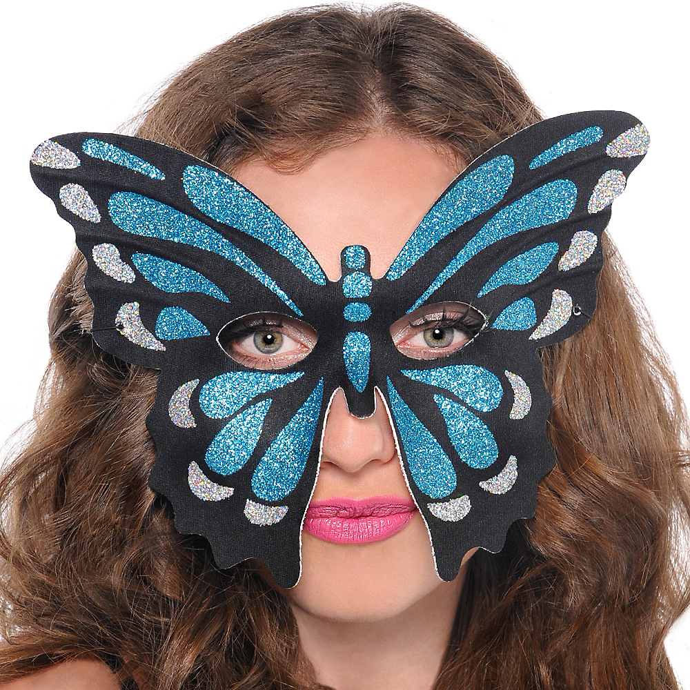 Glitter Blue Butterfly Mask Image #2