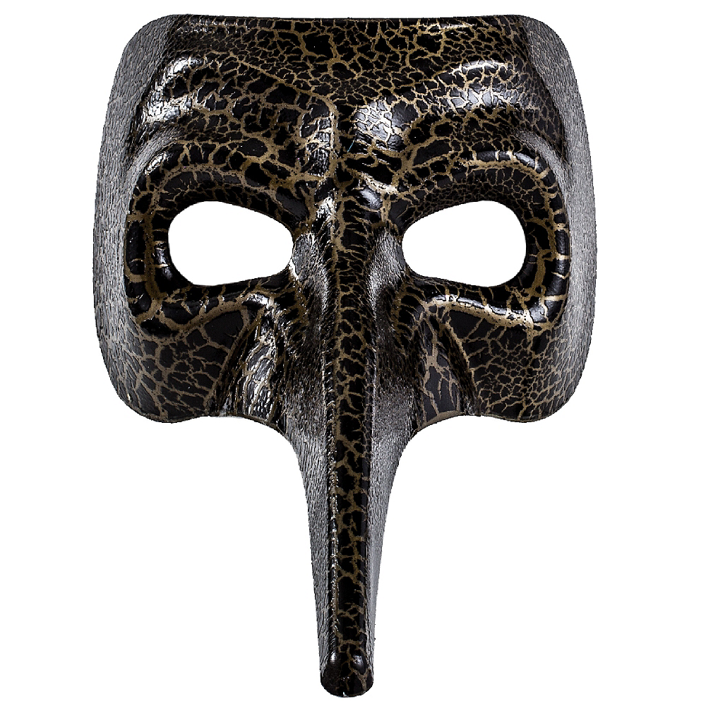 Black & Gold Crackle Long Nose Mask Image #2