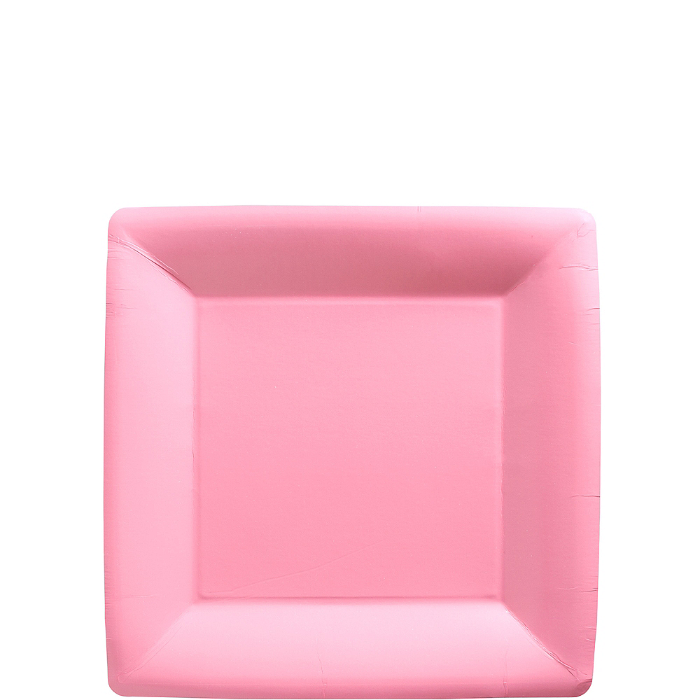 Pink Paper Square Dessert Plates 20ct Image #1