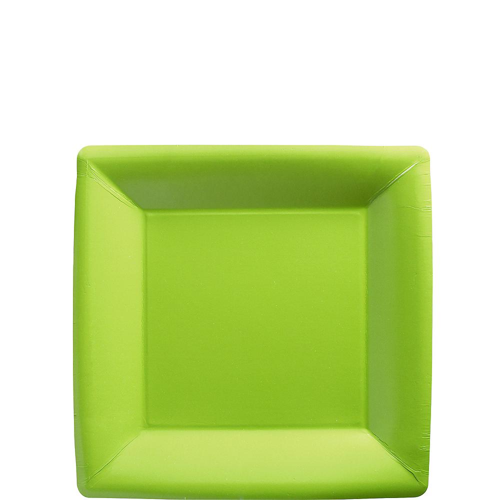 Kiwi Green Paper Square Dessert Plates 20ct Image #1