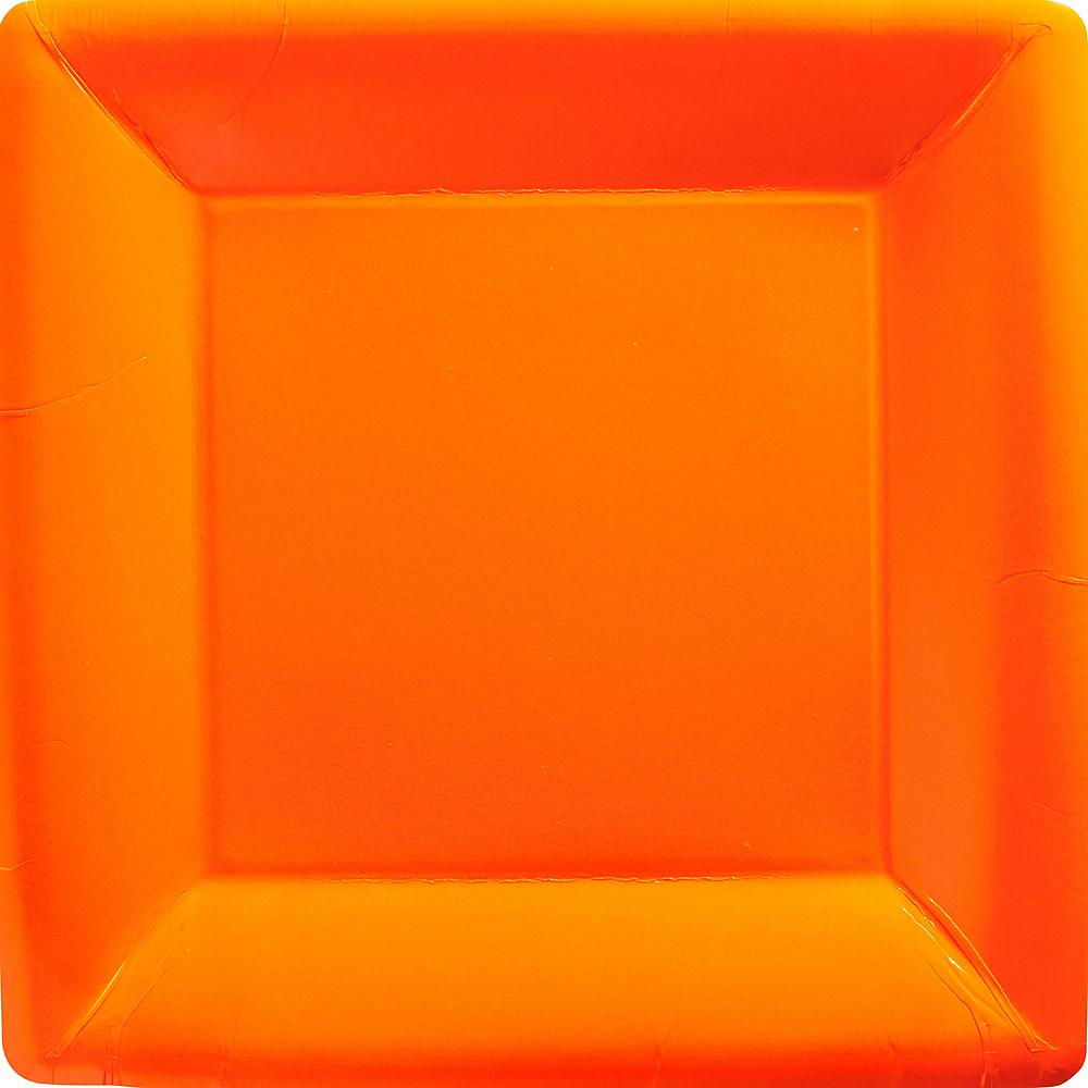 Orange Paper Square Dinner Plates 20ct   Party City
