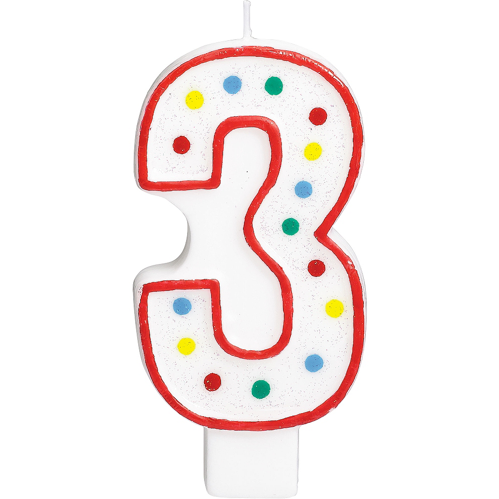 Giant Glitter Red Outline Number 3 Birthday Candle Image 1