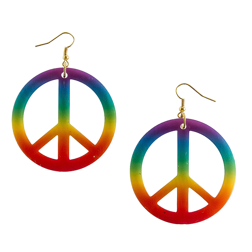 Rainbow Peace Sign Earrings Image #1