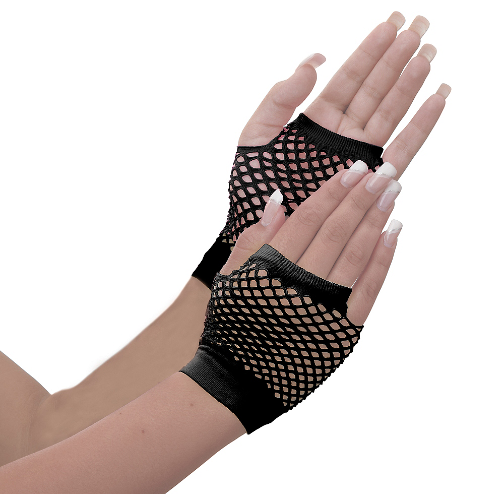 Short Black Fishnet Gloves Image #1