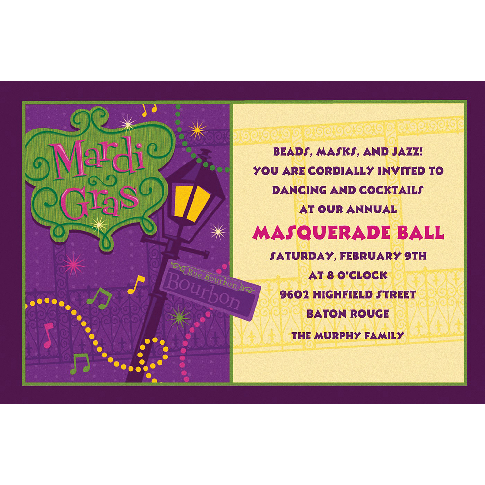 Custom Bourbon Street Mardi Gras Invitations Image #1