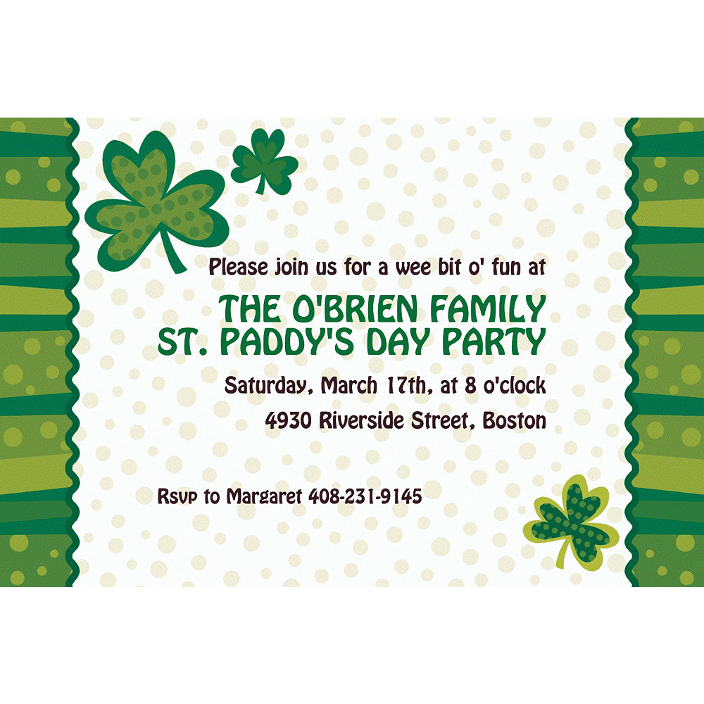 Custom Lucky Wishes St. Patrick's Day Invitations Image #1