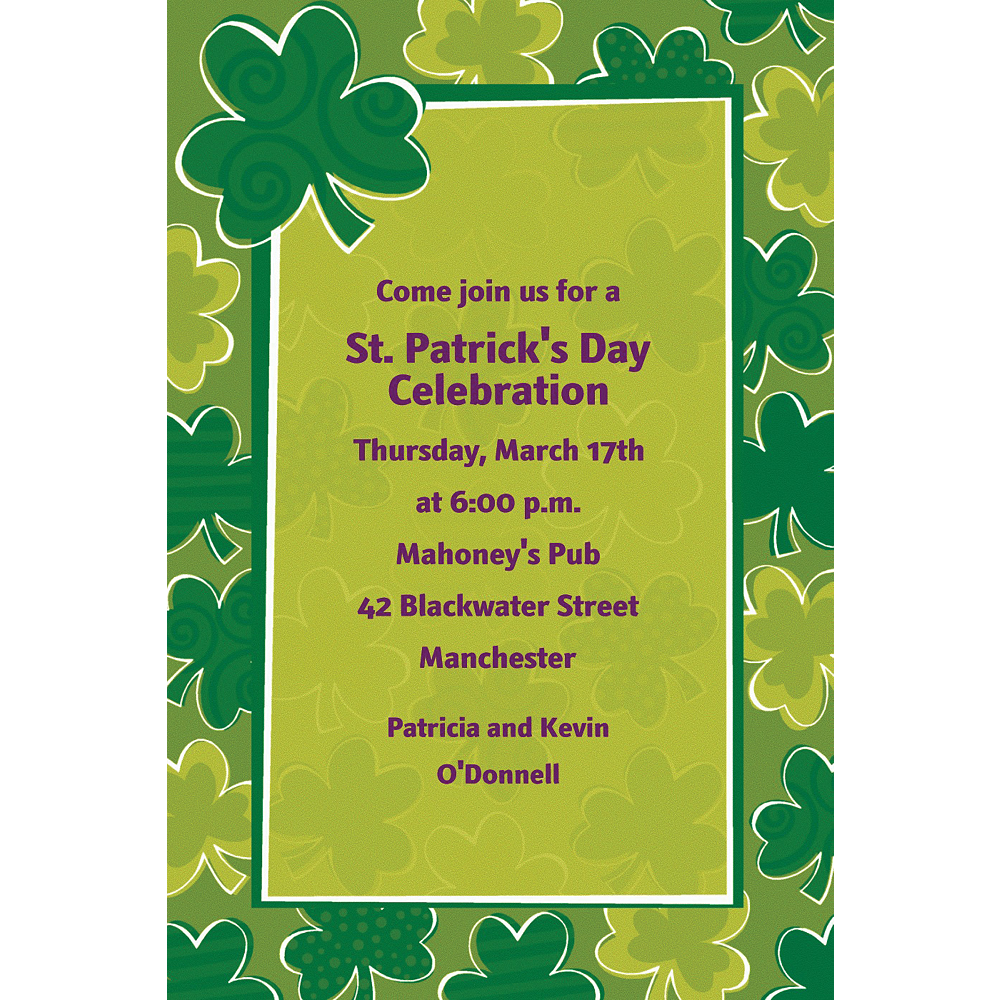 Custom Playful Shamrocks St. Patrick's Day Invitations Image #1