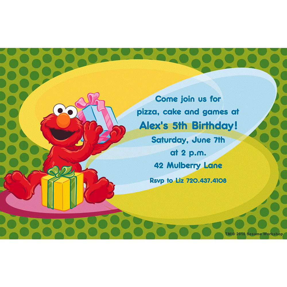 Custom Elmo Birthday Invitations Image 1