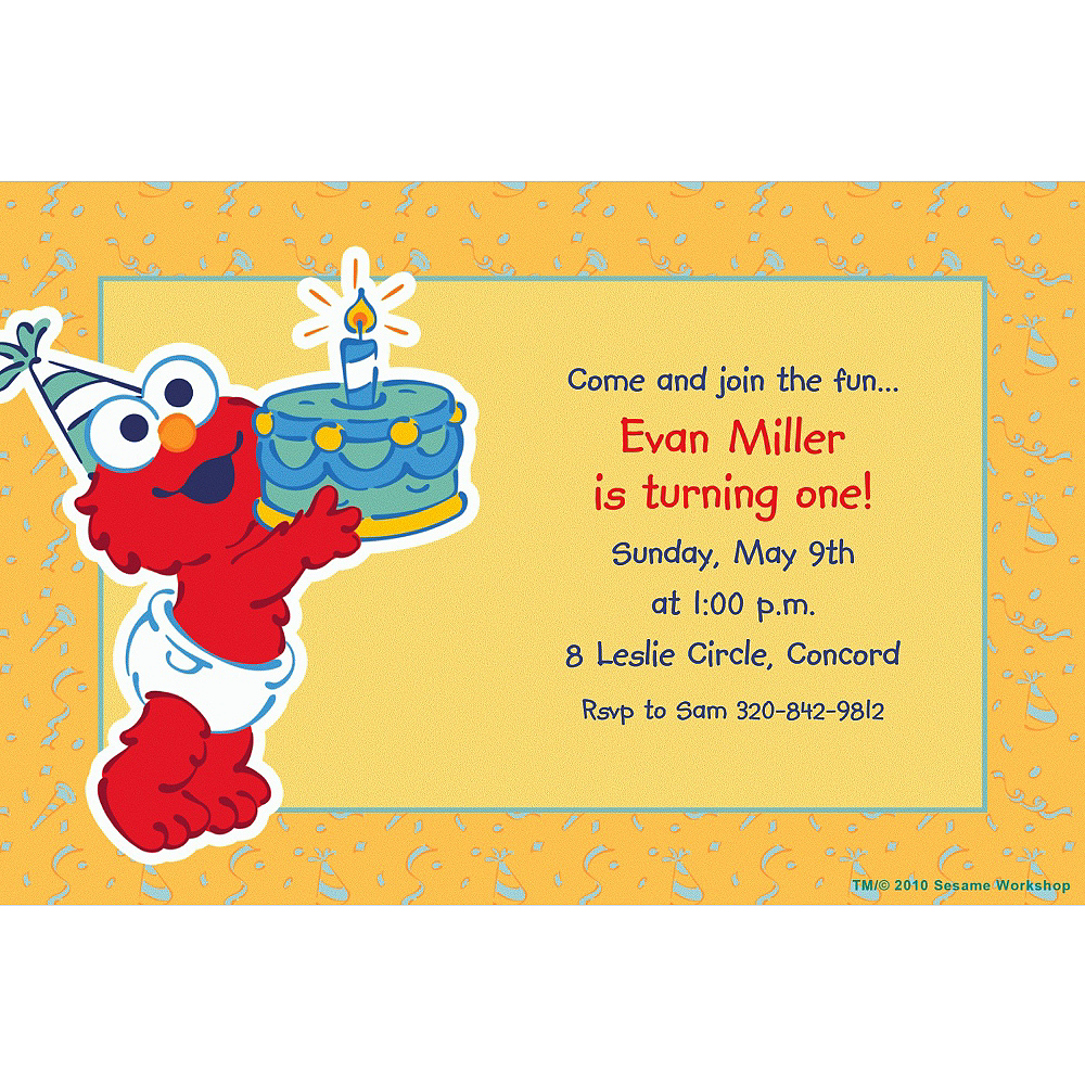 Nav Item for Custom Elmo First Birthday Invitations Image #1