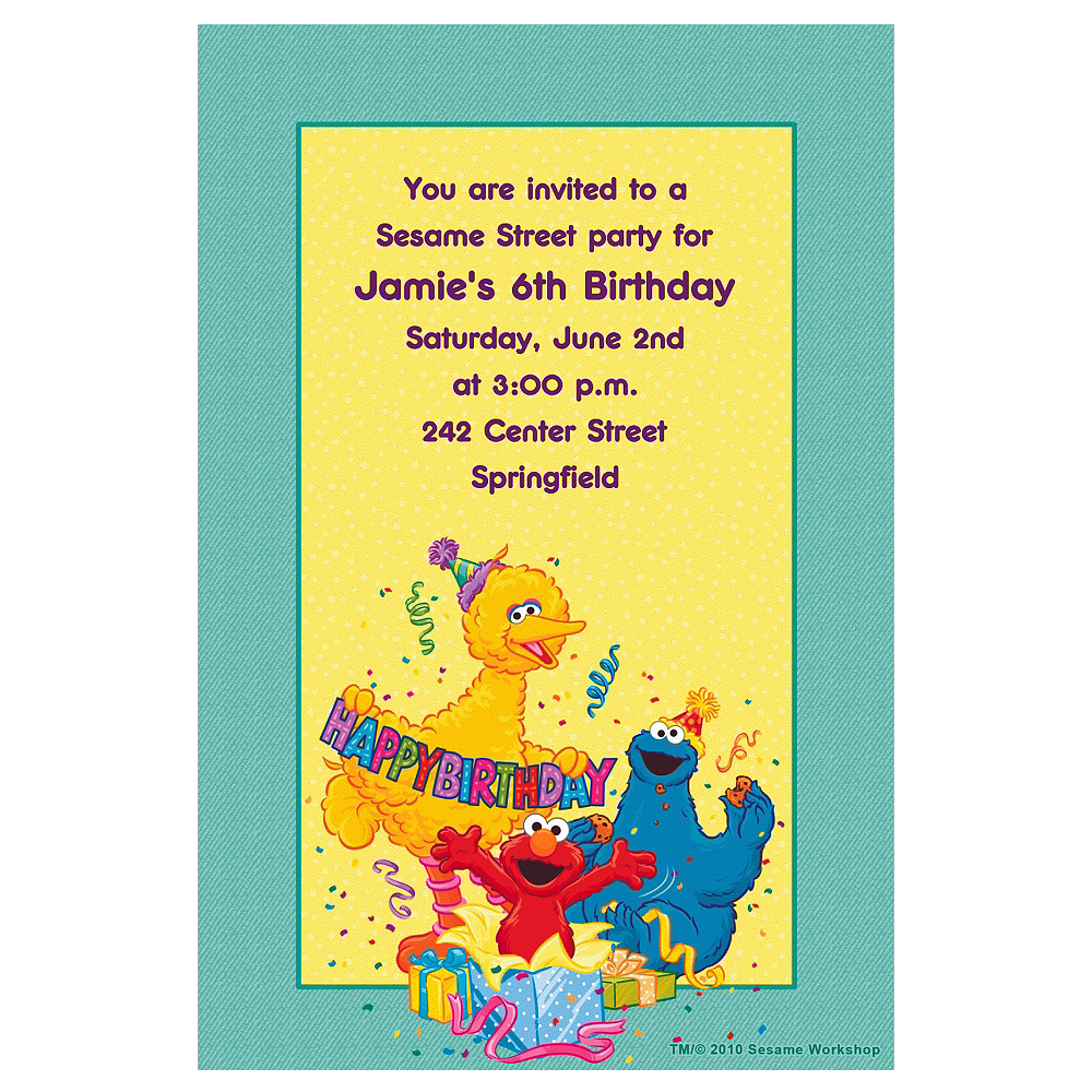 Custom Sesame Street Birthday Invitations Image 1