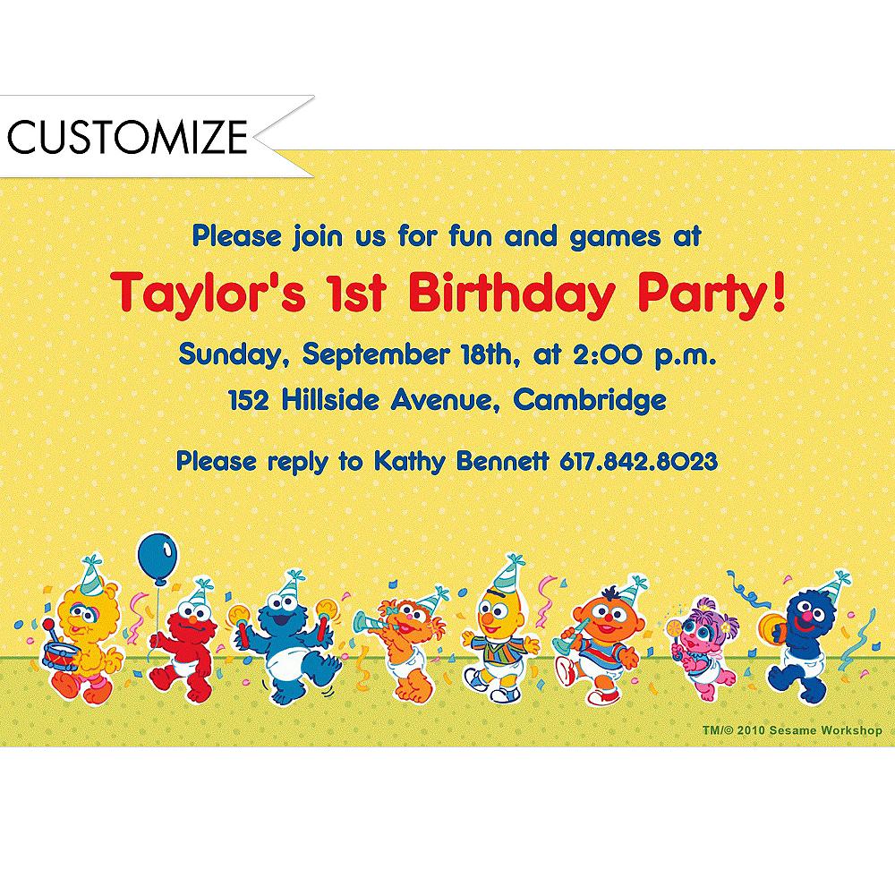 Custom sesame street 1st birthday invitations party city custom sesame street 1st birthday invitations stopboris Choice Image