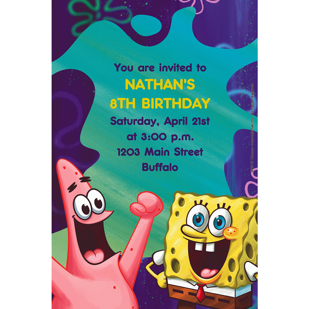 Custom SpongeBob Classic Invitations Image #1