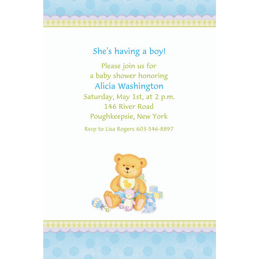 Custom Precious Bear Blue Baby Shower Invitations Party City