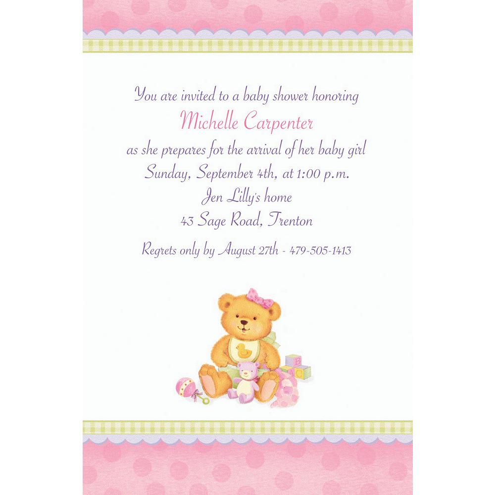 Custom Precious Bear Pink Baby Shower Invitations Image #1