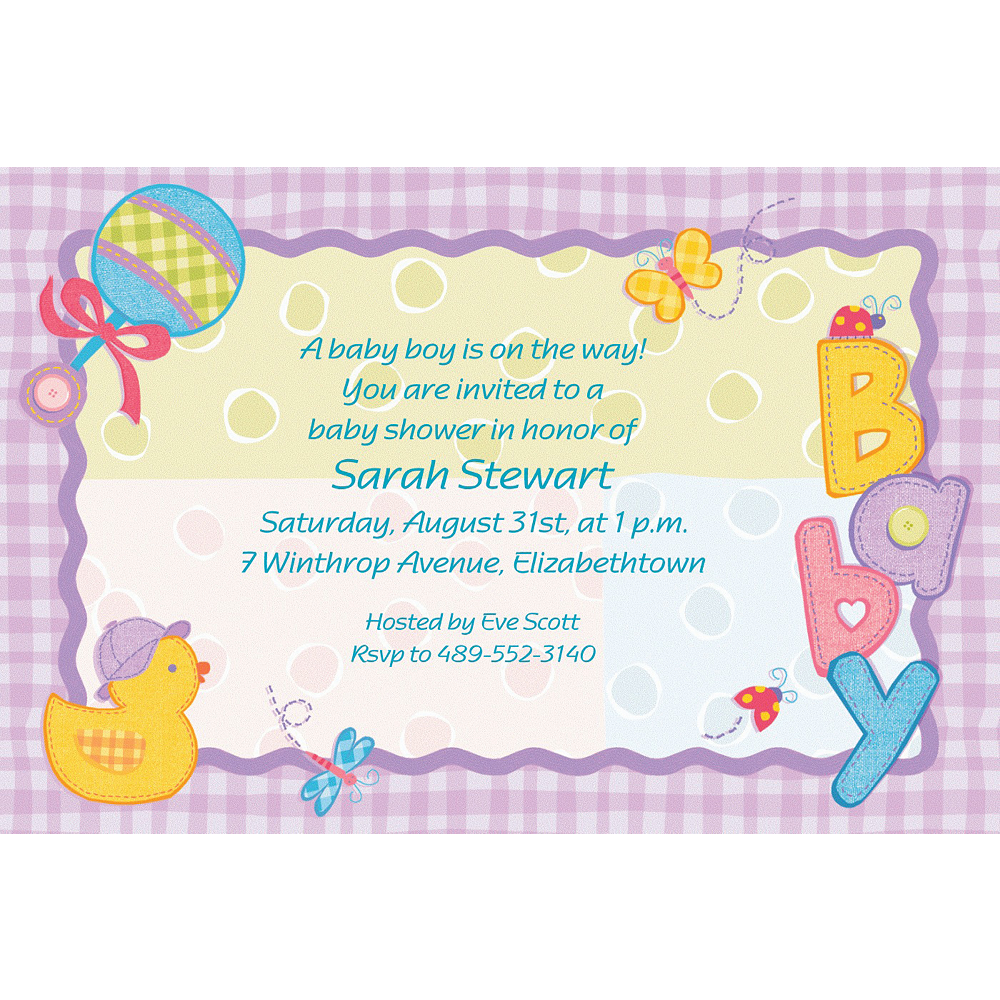 Custom Hugs & Stitches Baby Shower Invitations Image #1