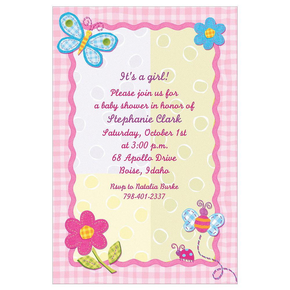 Custom Hugs & Stitches Girl Baby Shower Invitations Image #1